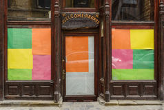 Colored wooden facade. With wellcomeing message Royalty Free Stock Image