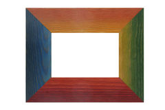 Colored wooden frame. On white background Stock Photos