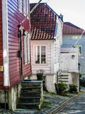 Colored wooden houses in Bergen, Norway stock images