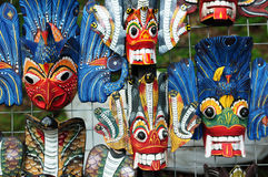 Colored wooden masks Royalty Free Stock Photos