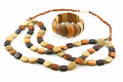 Colored Wooden Necklace and Bracelet Isolated Royalty Free Stock Photo
