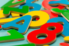 Colored wooden numbers and letters for children Royalty Free Stock Image