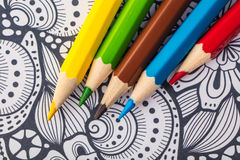 Colored wooden pencils close-up Stock Photo