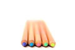 Colored wooden pencils collection. Multicolored pencils  on white background. Color pencils collection. Designer set tools. School drawing equipment Stock Image