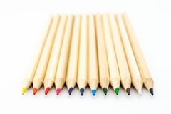 Colored wooden pencils isolated royalty free stock image