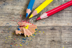 Colored wooden pencils of primary color Royalty Free Stock Photos