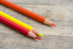 Colored wooden pencils of primary color Royalty Free Stock Image