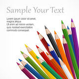 Colored wooden pencils & text Stock Image