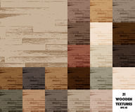 21 colored wooden textures. Set of 21 colored vector wooden textures Royalty Free Stock Images