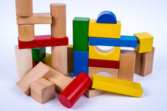 Colored wooden toy blocks Royalty Free Stock Photography