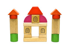 Colored wooden toys Royalty Free Stock Images