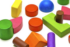 Colored wooden toys Stock Images