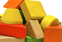 Colored wooden toys Stock Image