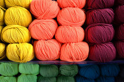 Colored wool. Coloured wool order box sale textile yarn yellow red stock photography