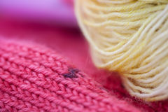 Colored wool knitting yarns Royalty Free Stock Images