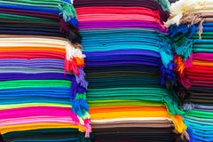 Colored wool Otavalo market royalty free stock photo