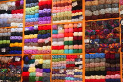 Colored wool for sale Royalty Free Stock Photography