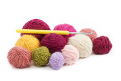 Colored wool thread balls to crochet Stock Images