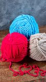 Colored wool threads for knitting royalty free stock images