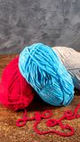 Colored wool threads for knitting royalty free stock photos