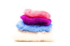 Colored wool tissues. A tinted wool tissues piled Royalty Free Stock Photography