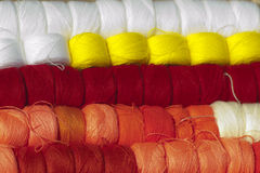 Colored wool yarn Stock Images