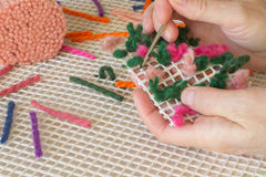Colored woolen a thread for  weaving rugs. Handmade. Stock Images