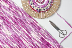 Colored woolen yarns Stock Photography