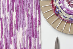 Colored woolen yarns. Royalty Free Stock Photos