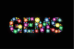 Colored word gems. Word gems made of colored gems stock illustration