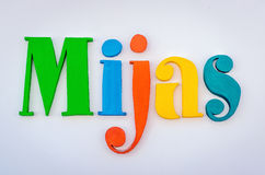 Colored word Mijas over white wall Royalty Free Stock Photography