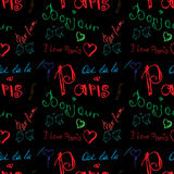 Colored word about Paris seamless pattern Stock Photography