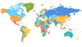 Free Colored World Map. Political Map Stock Image - 165218381