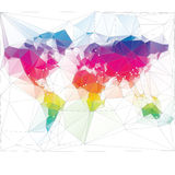 Colored world map triangle design Royalty Free Stock Image