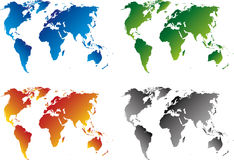 Colored world maps Royalty Free Stock Photo