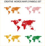 Colored world maps set isolated on the white Stock Photography