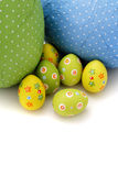 Colored wrapped chocolate Easter Eggs from top Royalty Free Stock Photography