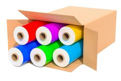 Colored wrapping plastic stretch films in cardboard box, 3D rend. Colored wrapping plastic stretch films in cardboard box, 3D royalty free stock photos