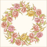 Colored wreath of peonies. Stock Photo