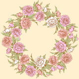 Colored wreath of peonies. Stock Images