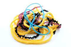Colored yarn. On a white background Stock Photo