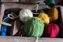 Colored yarn balls Stock Images