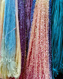 Colored yarn display. Vertical shot of colorful yarn display at fair Royalty Free Stock Photography