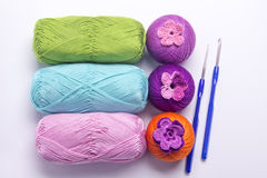Colored yarn for knitting red, yellow, purple, brown, white, pink, turquoise Royalty Free Stock Image
