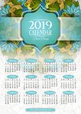 Colored 2019 Year Calendar Rectangular Template Stock Photography