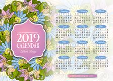 Colored 2019 Year Calendar Rectangular Template Royalty Free Stock Photography