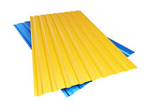 Colored yellow blue corrugated metal sheet on white background. 3d Illustrations Royalty Free Stock Images