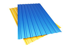 Colored yellow blue corrugated metal sheet on white background. 3d Illustrations Stock Photography