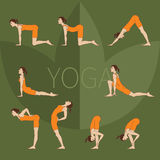 Colored yoga set icons Royalty Free Stock Photography