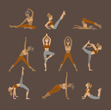 Colored yoga set icons isolated on white Royalty Free Stock Photo